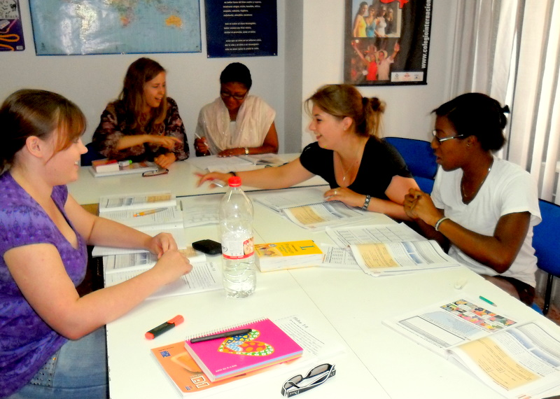 students in a language school in spain